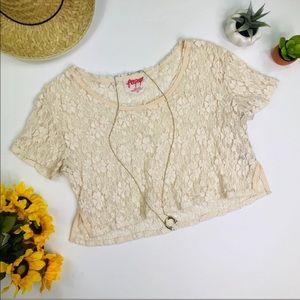 [Free People] Cream Lace Crop Top Size Medium